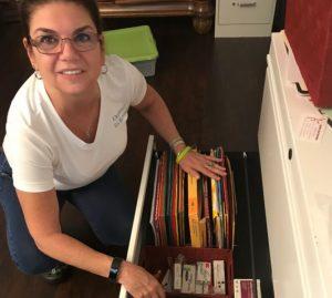 rosemary organizing some drawers