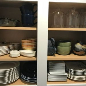 dishes in a cupboard