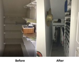 closet--before and after organization